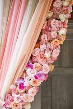 gorgeous curtains treatment with diff. color chiffon &  roses /   Harwell Photography #wedding  ♥