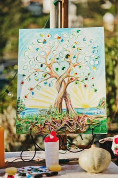 colorful thumb print guestbook // photo by K Miller Photographs