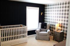 LOVE this black & white #plaid #nursery!  #black