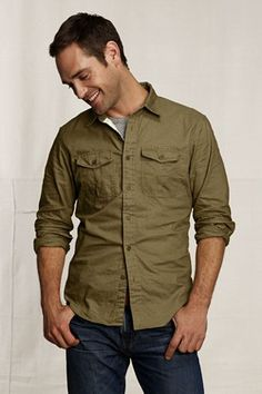 dark jeans, olive shirt - can't go wrong