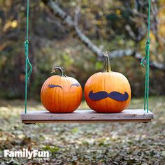 Lashes and 'Staches: Here's a simple way to give your pumpkins lots of personality without carving them: Use double-sided tape to attach cutout card stock eyelashes and a mustache (or try eyebrows, sideburns, or a goatee). If your couple will be spending time in an uncovered area outside, use craft foam instead of paper.
