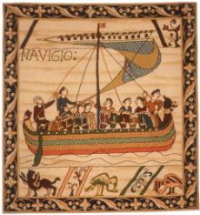 Duke William Ship, Bayeux tapestry. Depicts the events leading up to the Battle of Hastings (1066) when Duke William of Normandy was victorious over King Harold of Saxon, England. Here, the cavalry embark for England.