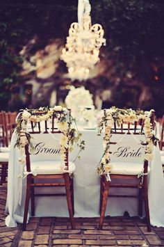 Bride and Groom Chair Swag | photography by http://www.tamizphotography.com
