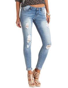 Refuge Boyfriend Medium Wash Destroyed Jeans: Charlotte Russe