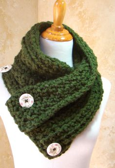 Scarf, Corchet Dark Green Crochet Scarf, 3 Button scarf, Wrap cowl, Dallas Dreams Scarf, Olive Green Scarf, Shoulder Warp