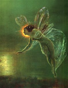 Spirit of the Night...#faerie #fantasy #art #fairy #green #reflection