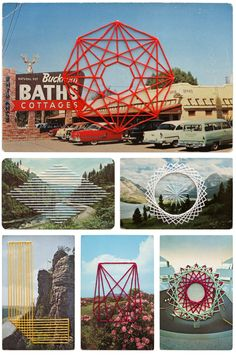 Awesome thread geometrics on postcard scenes. Shaun Kardinal's stitched postcards.  #embroidery #mailart
