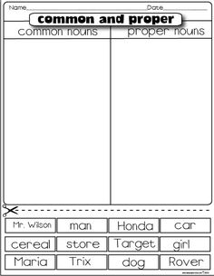 #common and #proper #nouns #freebie #worksheet