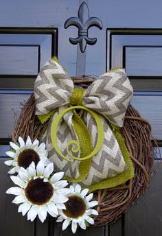 Summer Wreaths - Sunflower wreath - Monogram Wreath - Summer Wreaths for door - Wreath for Door  - Burlap wreath - Door Wreath - via Etsy