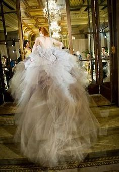 FABULOUS white gown - Running up the stairs - Back view - Long trail FROM: Willowwood