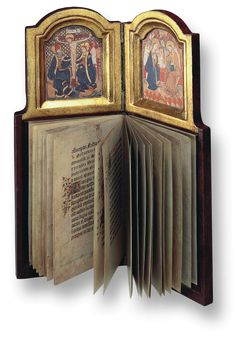 This is a facsimile of personal prayer-book/diptych belonging to Philip  the Good, Duke of Burgundy. Philip the Good was one of the later Valois  family Dukes, (1419-67)  The combination of diptych and devotional book is unique in the history of art. built around 1430  15th  Century - Austrian National Library, Vienna, Cod 1800          http://www.faksimile.ch