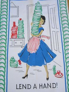 I love vintage kitchen towels, such colorful and cute designs.
