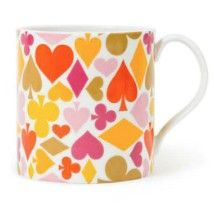 playing card patterned mug