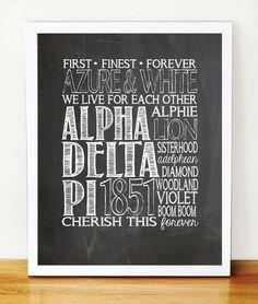 8x10 Alpha Delta Pi Chalkboard-Theme Typography Print - $15.00