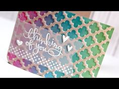 cardmaking video by Kristina Werner: Layered White + Colored Ink on Kraft ... great tips on stenciling and working with vellum ... luv how she blended the colors over the Moroccan tiles stencil ...  worth watching a couple times at least ...