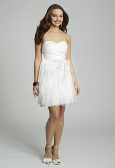 White Dresses - Strapless Mesh Prom Dress from Camille La Vie and Group USA
