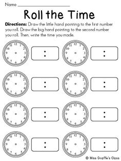 Telling time math station that's super fun! Kids roll the dice to draw the hands then write the time.