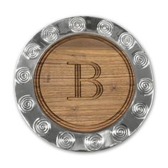 Walnut Initial Cutting Board in a Spiral Rim Pewter Charger