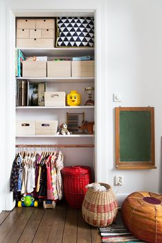 Great use of space in a child's closet. #kids #decor