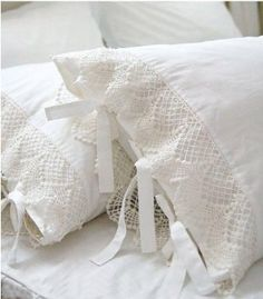 Ivory White Lace Pillow Shams, Shabby Country Cottage Decorating