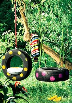 tires as swings.  These are cute. someday maybe i'll get to put one of these in my front yard. tire swing, diy ideas, tree swings, polka dots, old tires, recycled tires, kid rooms, backyard, garden
