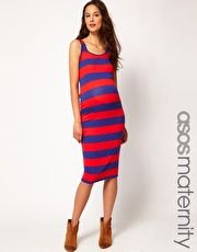 ASOS Maternity Midi Dress In Wide Stripe