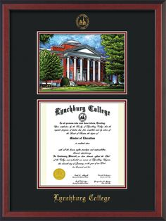 Lynchburg College Diploma Frame with premium hardwood moulding and official school seal and name embossing - campus landmark watercolor and superior UV glass - Black on Crimson mat. A great graduation gift! colleges, lynchburg colleg, campus landmark, graduation gifts, diploma frame, colleg diploma, hardwood mould, premium hardwood, graduat gift