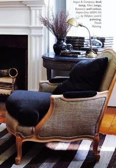 Burlap and velvet upholstery.