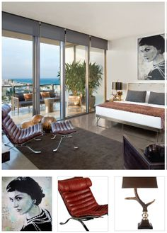 modern miami bedroom with coco painting and outstanding view! nice!
