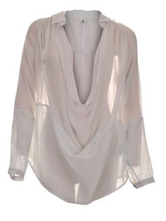 Low cowl neck flowing blouse