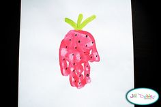 S is for strawberry wall art, idea, hands, strawberries, strawberry shortcake party, handprint art, hand prints, crafts, kid