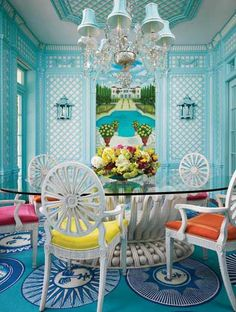 breakfast rooms, dining rooms, chair, interior, dine room, blue, color, hous, dining room design