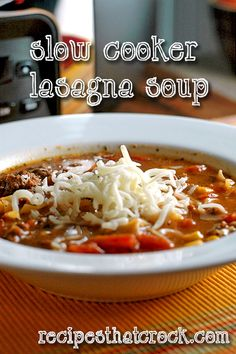 Lasagna Soup #SlowCooker #CrockPot #RecipesThatCrock---    1 lb Ground Beef or Sausage - Browned and Drained     6.4 oz Hamburger Helper Lasagna Dinner- Divided     6 Cups Water     1 Cup Frozen Corn     15 oz Red Gold Diced Tomatoes, Basil, Garlic and Oregano     Optional: Mozzarella or Ricotta Cheese