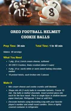 Oreo Football Helmet Cookie Balls.  Perfect for the Superbowl!