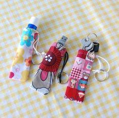 fabric scrap chapstick, memory stick, ket holder