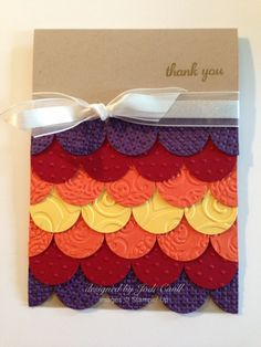 "How simple is this handmade card - circles!  Use different embossing folders and line up your 1"" circles in overlapping lines.  Use the colors and ribbon of your choice to finish up your Thank You card."