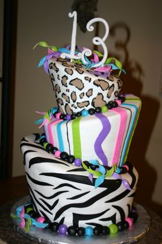 "I WANT THIS FOR JO""s 10 th BDay This Year!!    14. BIRTHDAY IDEAS: when me and my friend wanted to share a super-awsome 13 birthday party, we both wanted this kind of cake but with 4 layers one zebra, one cheetah, one green, and one blue! with pink 13. and it would have looked awsome!!! :) <3"