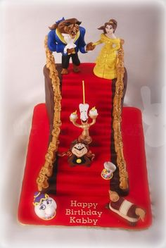 Beauty and the Beast staircase cake
