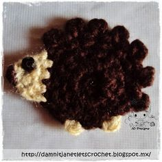 Crochet hedgehog free applique pattern
