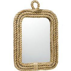 """Ropes Mirror  Add some chic texture to your walls with this fabulous jute rope mirror. As seen in Lonny Magazine (June/July issue, page 136). A bestselling favorite, works with any decor style!    16 1/2"""" x 25"""" H; insert: 11"""" x 16 3/4"""" H    $125.00"""