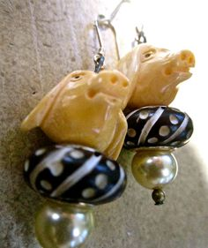 Carved bone PIG earrins with carved  bone beads by pinkflamingo61, $18.00