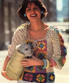 Lovely Granny Squares Blouse PATTERN, Crochet 1970's Vintage