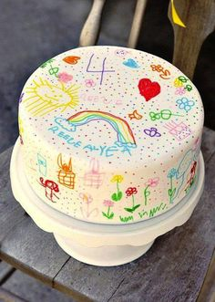 Kids Doodle Cake...Claire could help decorate! LOVE IT! kid doodl, doodl cake, fun cake