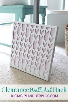 Cute and simple ombre wall art hack! | JustAGirlAndHerBlog.com