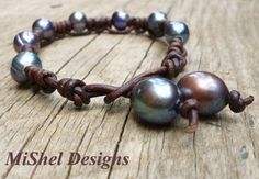 MiShel Designs Leather and Pearl Knotted Bracelet