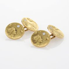 Art Nouveau Gold and Diamond Cufflinks by Krementz and Co., 1900.