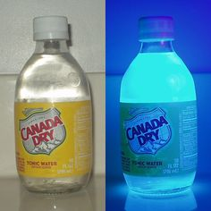Tonic water glows in the dark when placed under a black light. You could make ice cubes with it and drop them into a drink for a glowing effect!