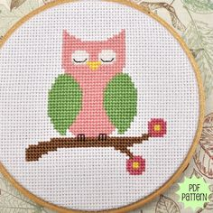 Pink Owl Counted Cross Stitch