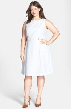 Tahari Textured Fit & Flare Dress (Plus Size) | Nordstrom