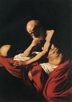 Saint Jerome in Meditation, öl von Caravaggio (Michelangelo Merisi) (1571-1610, Italy)